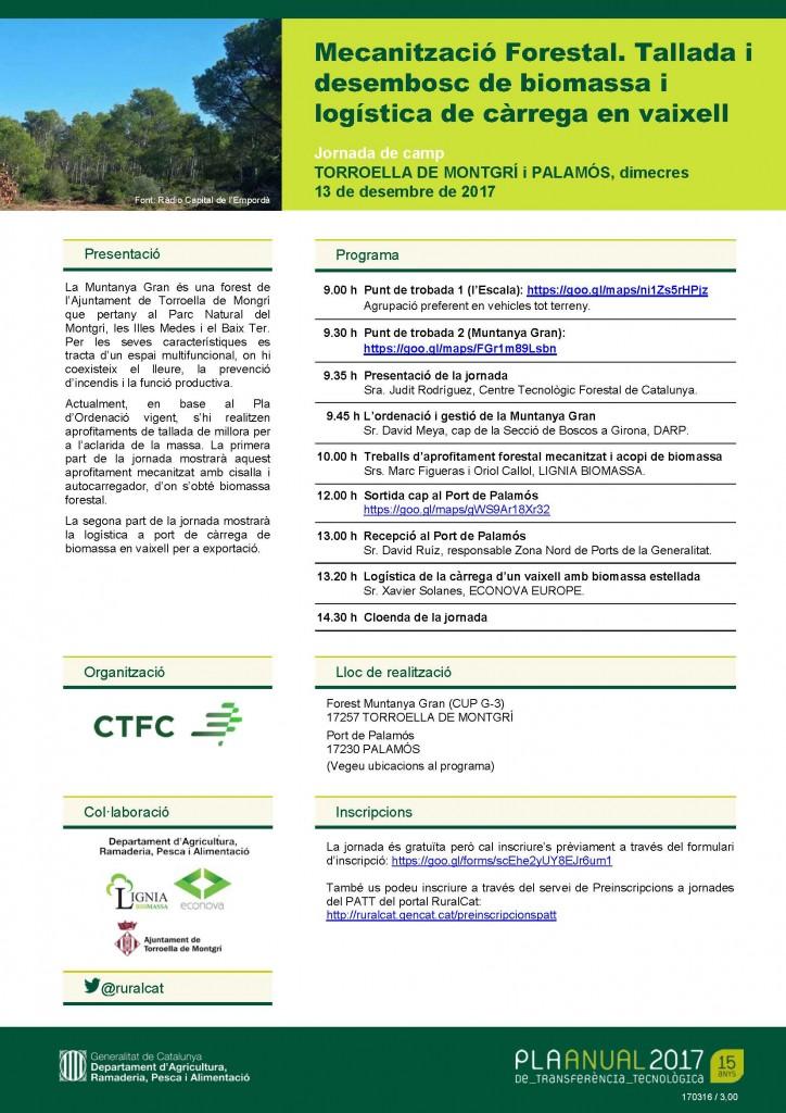 Mecanització Forestal. Tallada i desembosc de biomassa i logística de càrrega en vaixell @ Torroella de Montgrí i Palamós